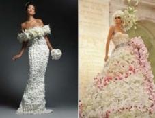 Живые цветы в наряде невесты